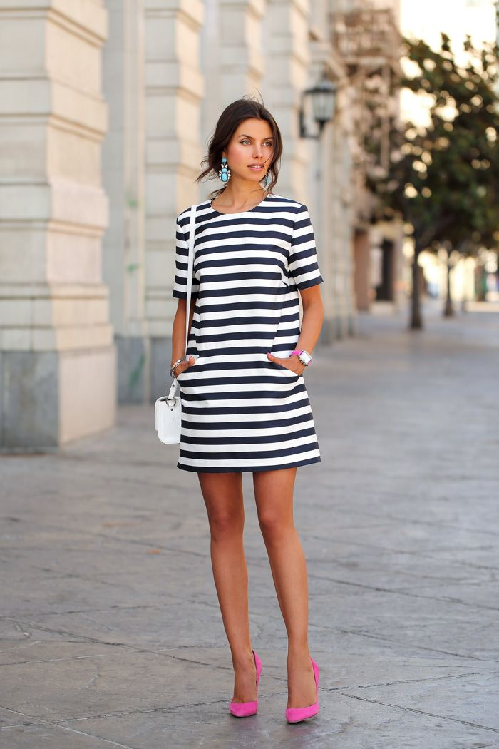 pink pumps with striped dress