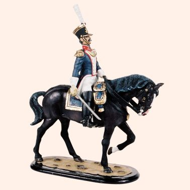 M54 22 Mounted Field Officer    French Line Infantry    The French Army of the Napoleonic Wars, 54mm Model Soldiers    All the figures are made from white metal and are available as unpainted kit, castings all with painting instructions and colour photo, they can also be supplied fully hand painted in matt.