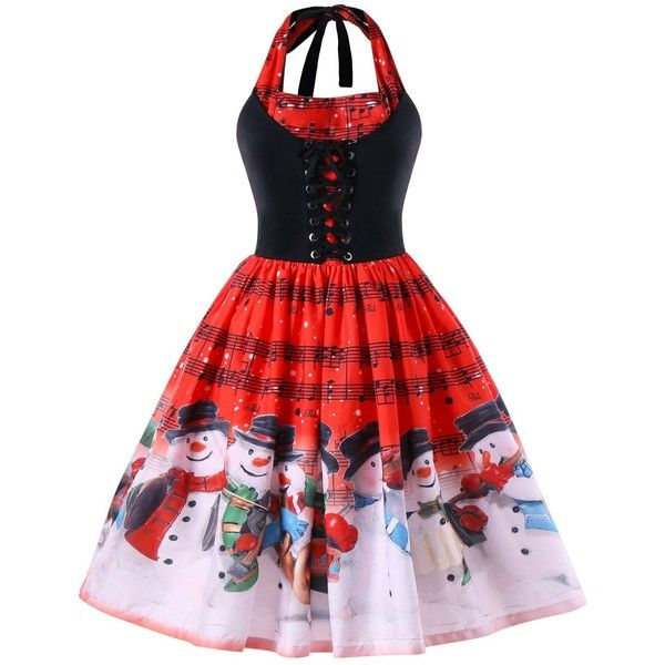 Red 5xl Christmas Plus Size Music Notes Halter Dress (1.610 ISK) ❤ liked on Polyvore featuring dresses, red dresses, red christmas dress, music note dress, plus size christmas dresses and halter-neck dresses