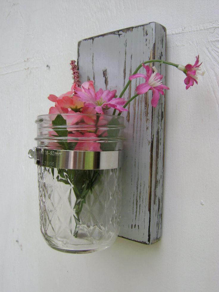 Wall Sconces Flower Vases : Nautical decor wall sconce rustic shabby chic vases sconce mason jar wood vase wall decor ...