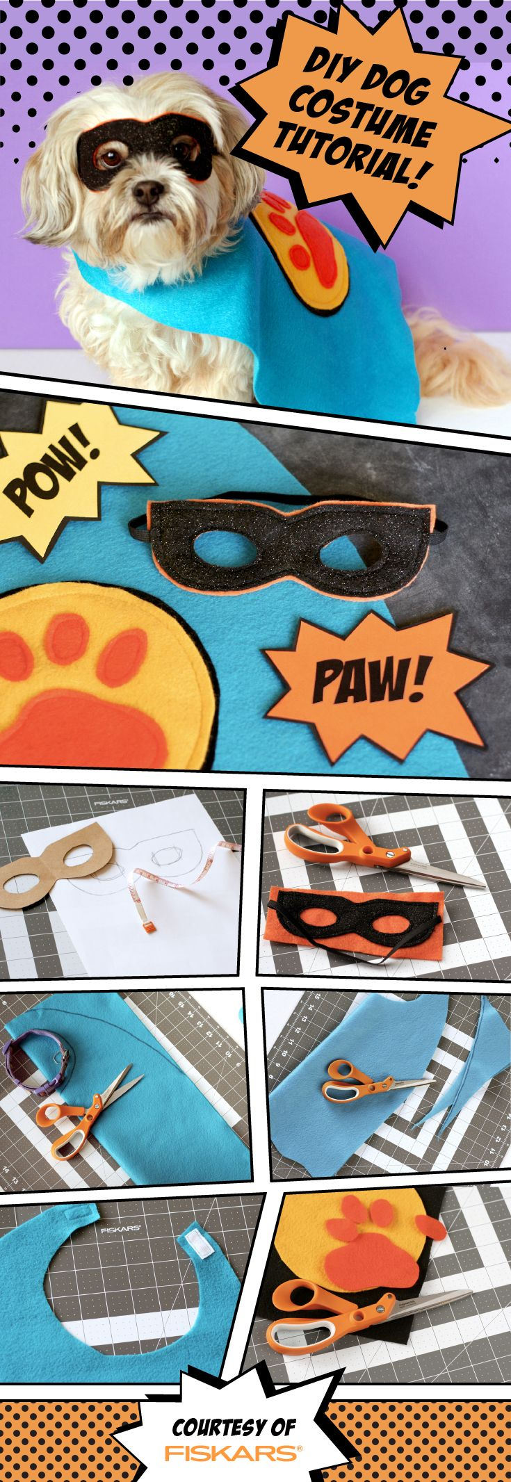 Craft up a simple super hero costume for your dog this Halloween. All you need is a cape and mask. Working with felt is great for quick costumes since you do not need to worry about hemming, fraying, etc.