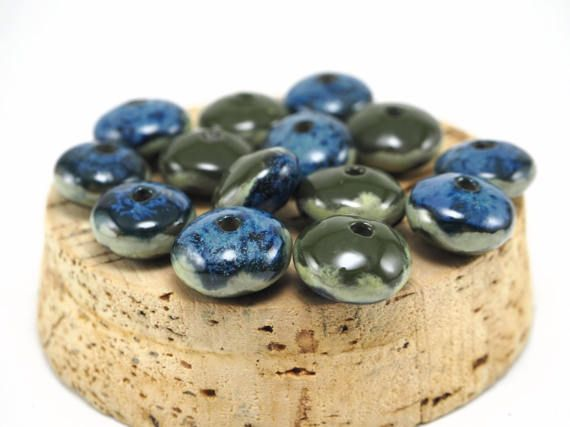 Nautical beads for summer necklace! #summer #etsy #nautical #beads #ceramics #pottery