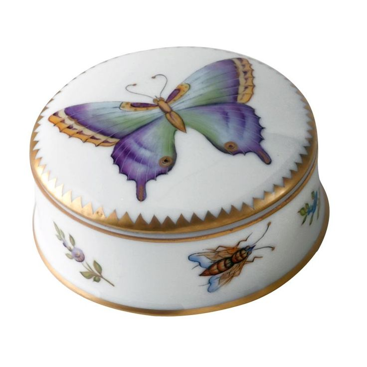 Anna Weatherley Small Round Covered Box with Purple Butterfly