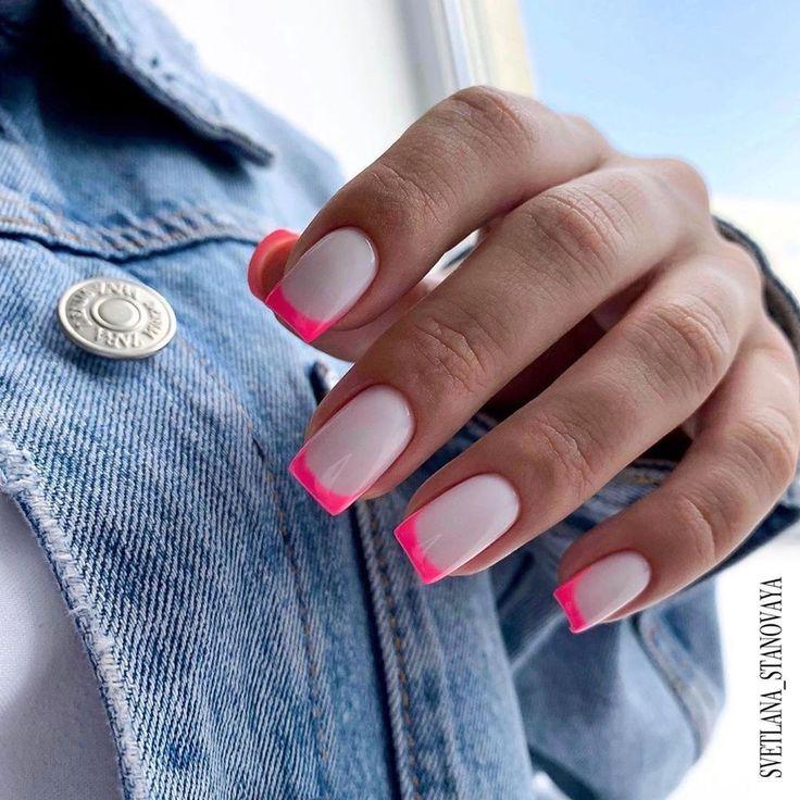 Tendências para unhas: Francesinha Neon | Com Estilo Único Blog | Dream nails, Nails, Short gel nails