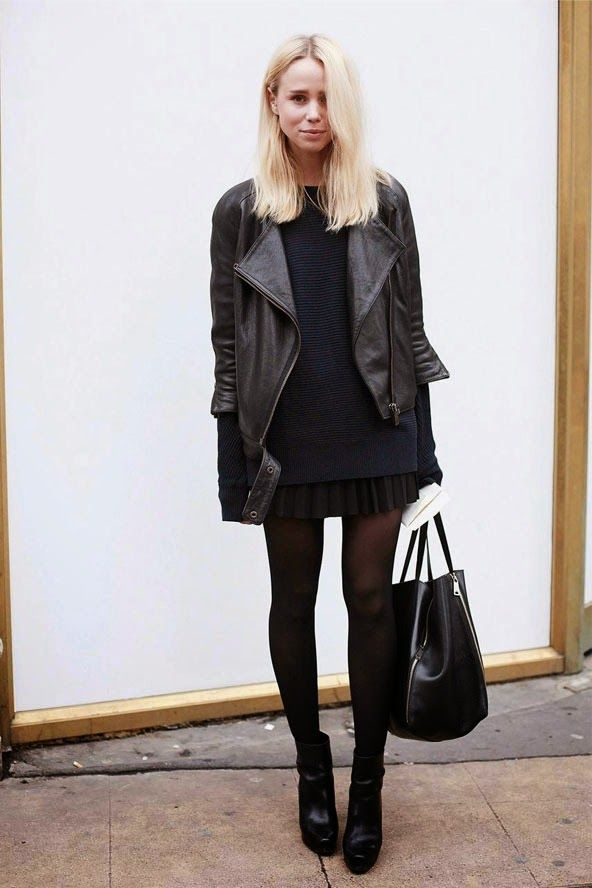 creative all black skirt outfits