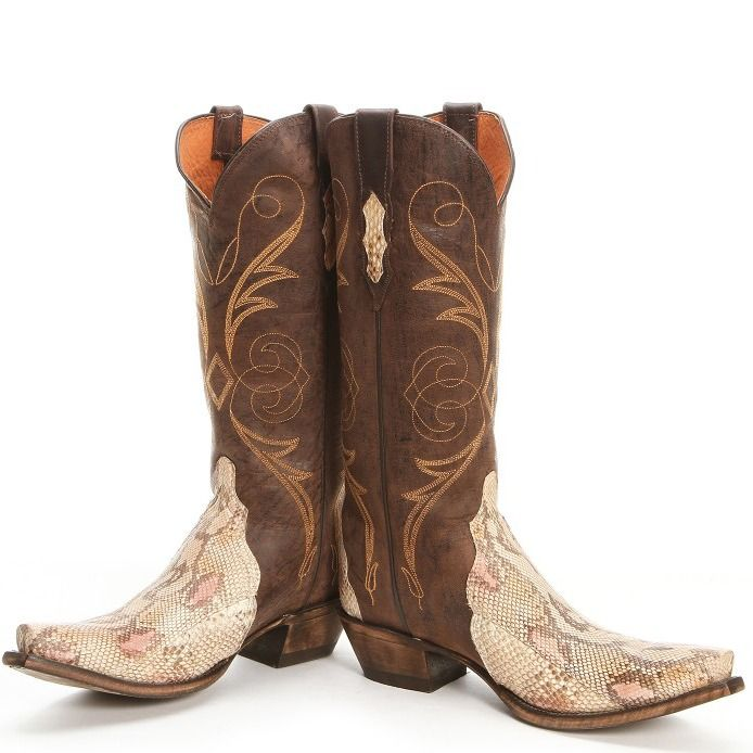 Lucchese Python Triad Natural Brown Cowgirl Boots