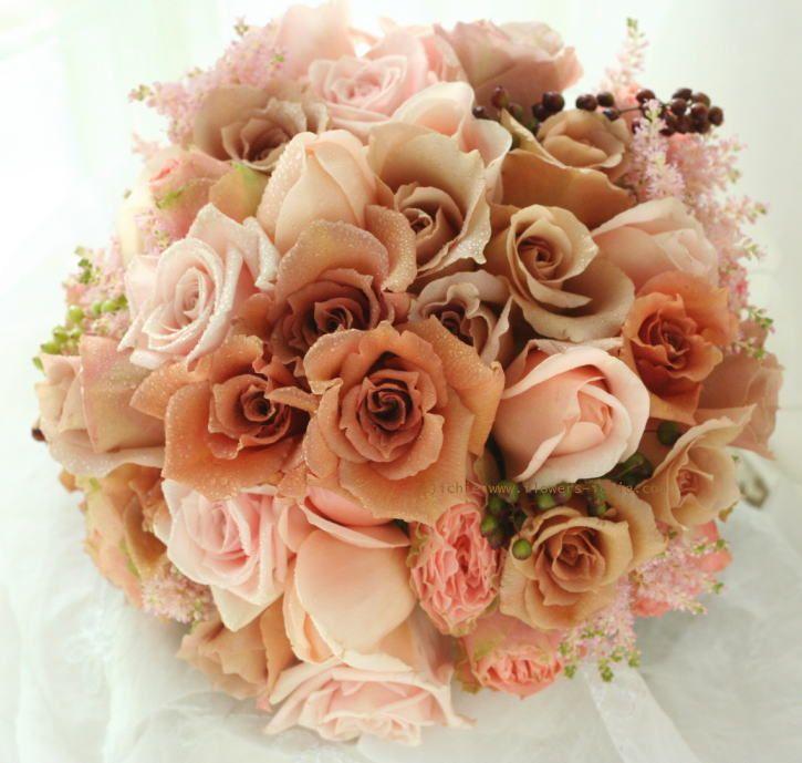 ブーケ ラウンド カフェモカ : 一会 ウエディングの花