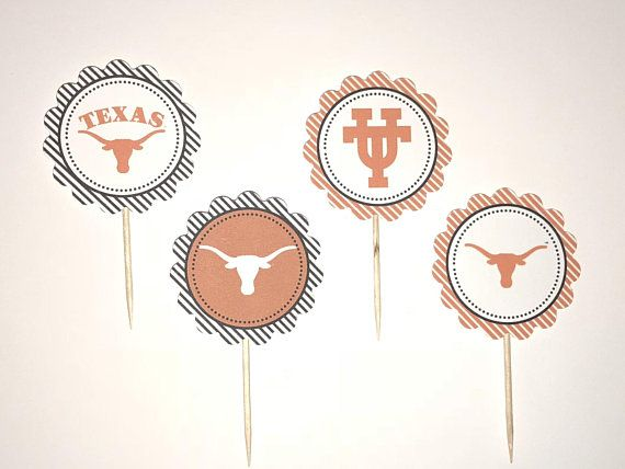 University of Texas Longhorns – 12 cupcake toppers, Party Decor, Cake Topper, Un… – Products I Love