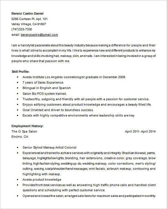Sample Hair Stylist Resume Sample Resumes In 2020 Hairstylist Resume Cosmetology Business Hairstyles