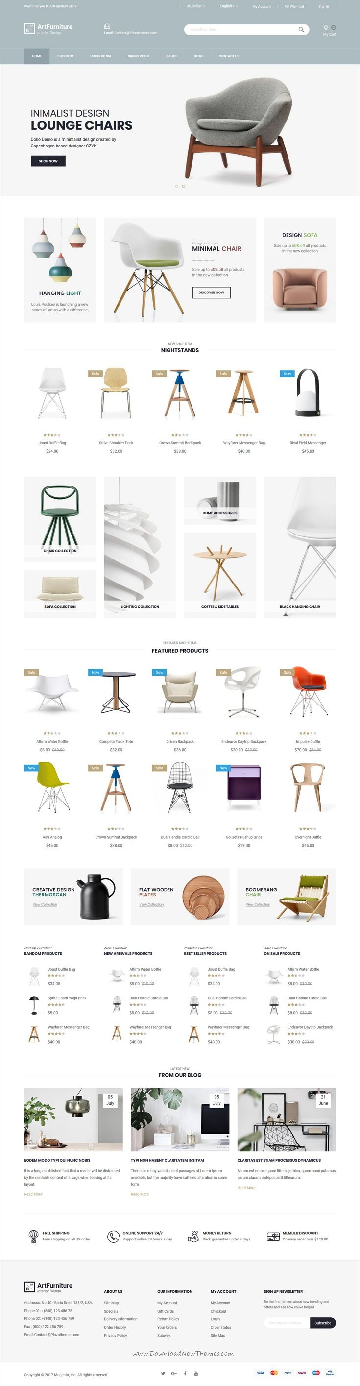 ArtFurniture is clean and modern design 4in1 responsive #Magento 2 theme for stunning #furniture and interior design shop #eCommerce website download now..