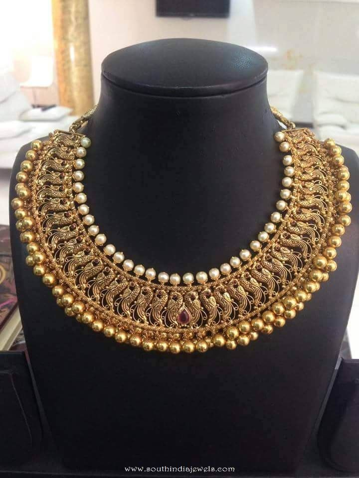 Gold Peacock Choker