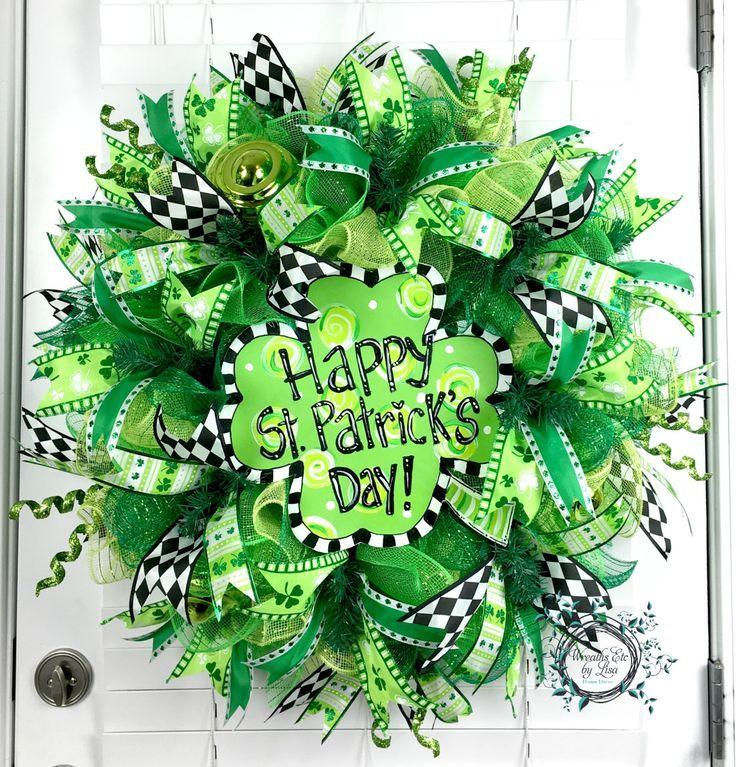 Deco Mesh St Patricks Day Wreath - Shamrock Wreath - Happy St Patricks Day Wreath - St Patricks Door Decor by WreathsEtcbyLisa on Etsy