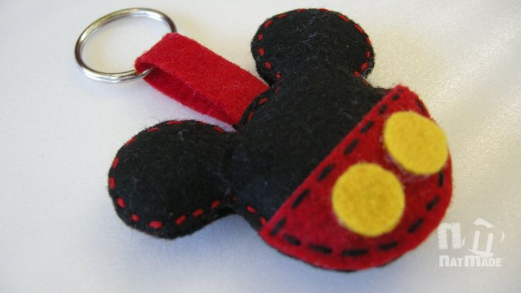 Felt Mickey Mouse keychain, Felt Mickey Mouse keyrings by NatmadeCrafts on Etsy