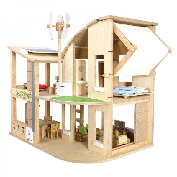 PLAN TOYS Plan Dollhouse 7156 Green Dollhouse with Furniture