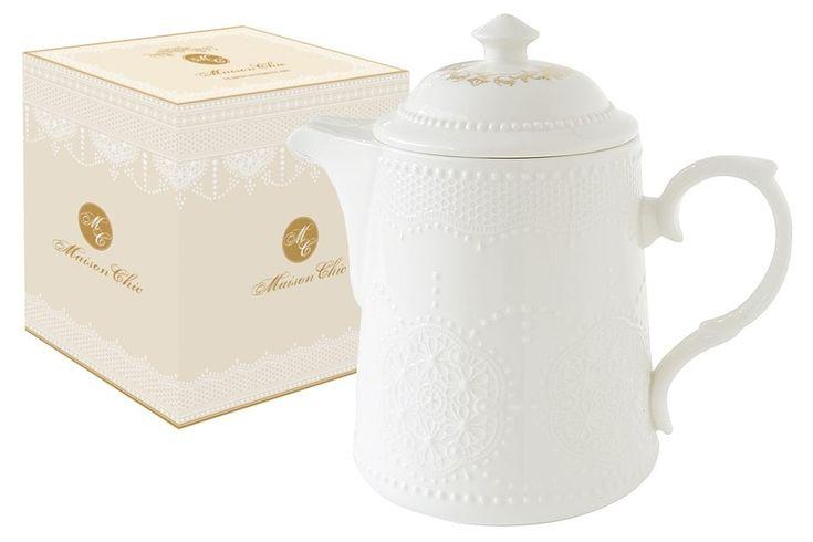 Чайник из фарфора «Белое кружево»      Бренд: Easy Life (Nuova R2S) (Италия);   Страна производства: Китай;   Материал: фарфор;   Объем чайника: 0,9 л;          #tea #porcelain #фарфор #посуда #чай