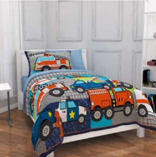 boys heros fire truck police car wrecker 7p full double bedding