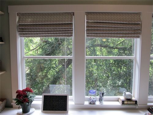 94 best images about window treatments on pinterest for Roman shades for wide windows
