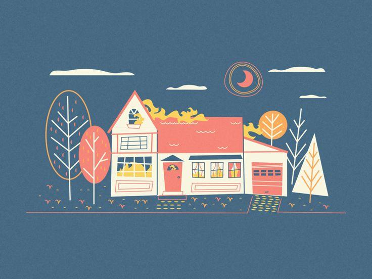 Kitchen Fires Spot Illustration