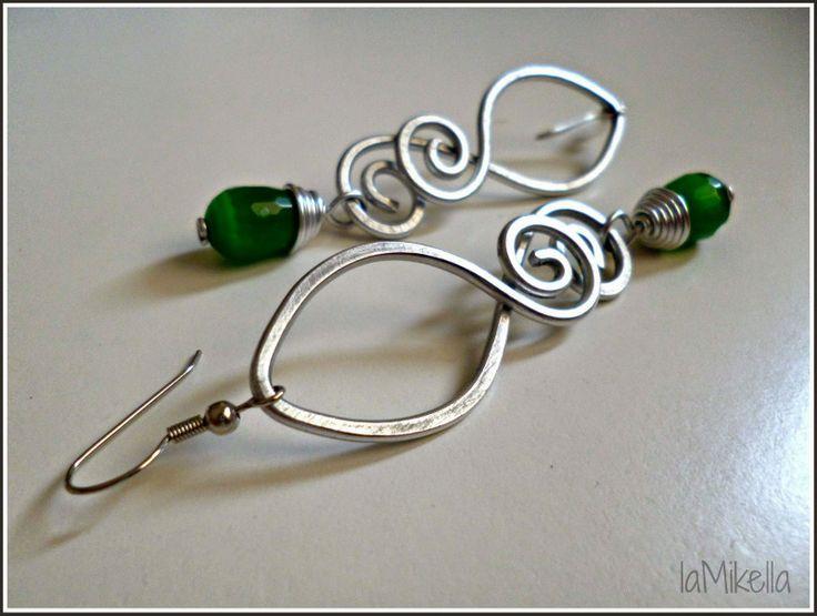 """""""Orecchini verde speranza"""" Alluminio - tecnica wire"""