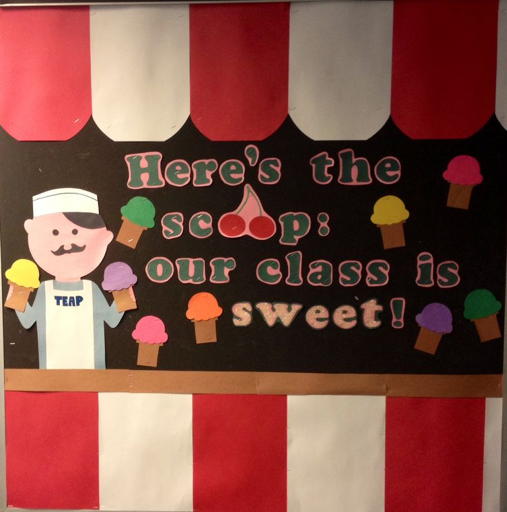 School bulletin board. Preschool. Summer. Ice cream. Sweet. Carnival. Food. Dessert. Bulletin board. Pre K.