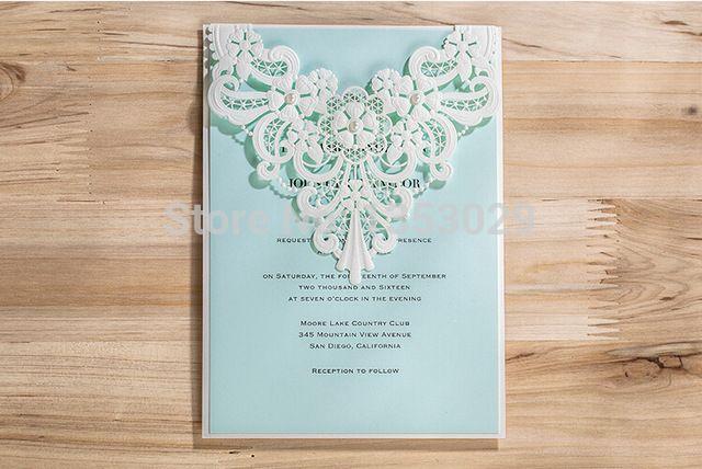 Free Shipping New Arrival Laser Cutting Wedding Invitation Cards Blue Inner Sheet Invitation Cards Businiess Invitation Card
