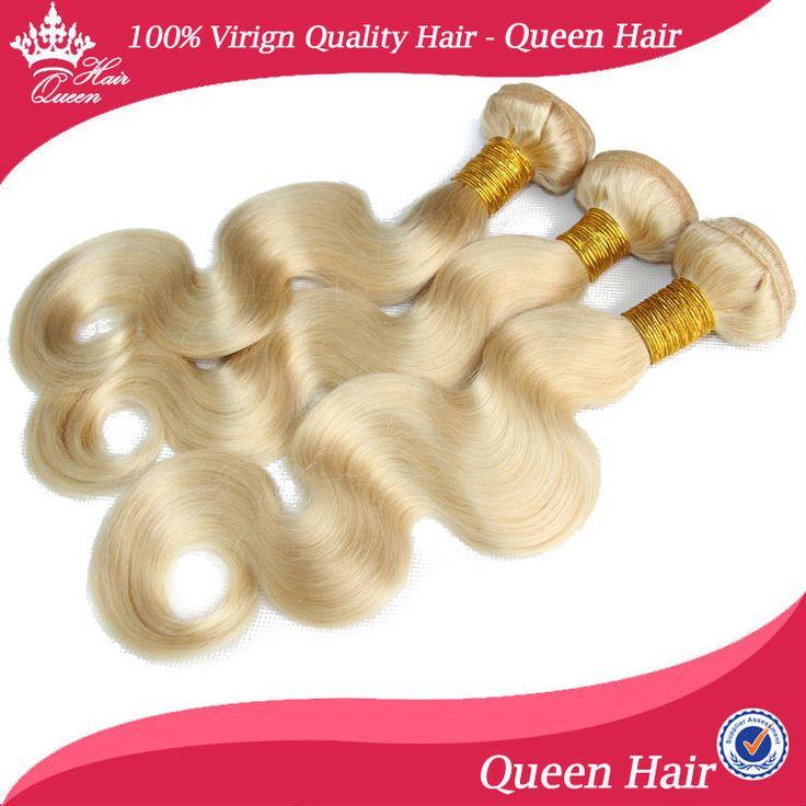 Королева Волос Бразилии Ху человек Волос 100% Ху человек Волос Гаммы Длины 3 шт./лот Объемная Волна Блондинка волосы #613 Покрасить
