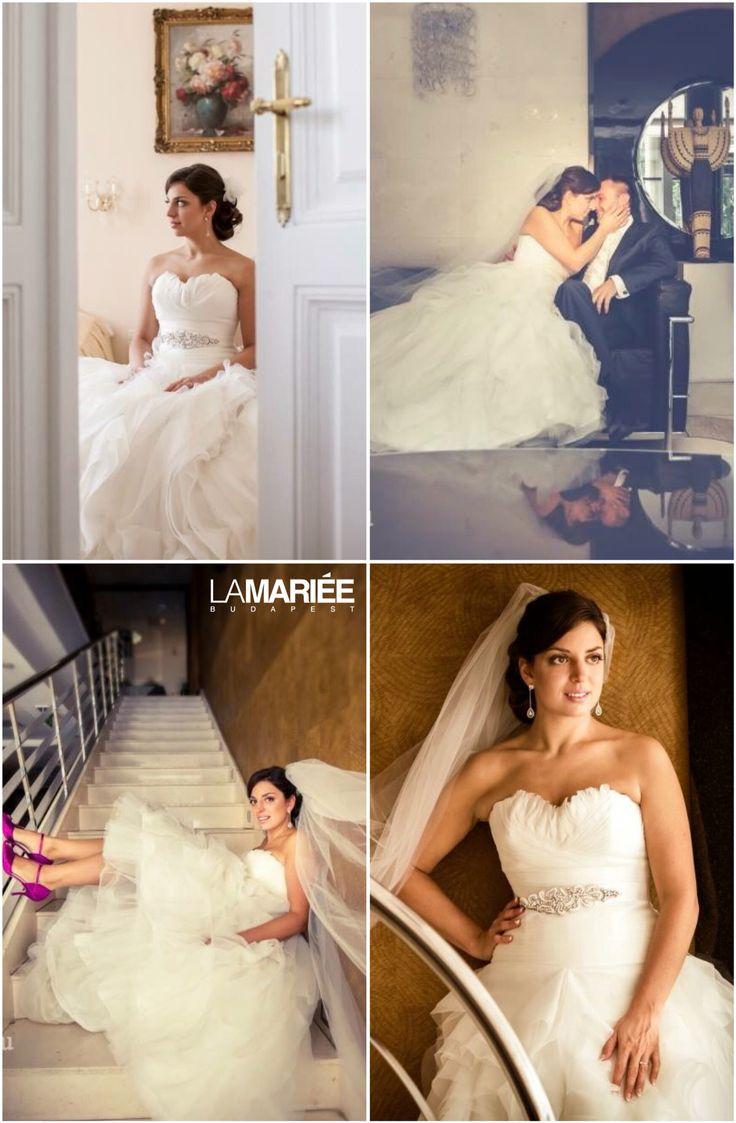 Benicarlo esküvői ruha - Pronovias kollekció & Bridal Mirage fátyol és hajdísz - Eszter  menyasszonyunk  http://mobile.lamariee.hu/menyasszonyi-ruha-kollekciok/eskuvoi-ruhak/pronovias-od
