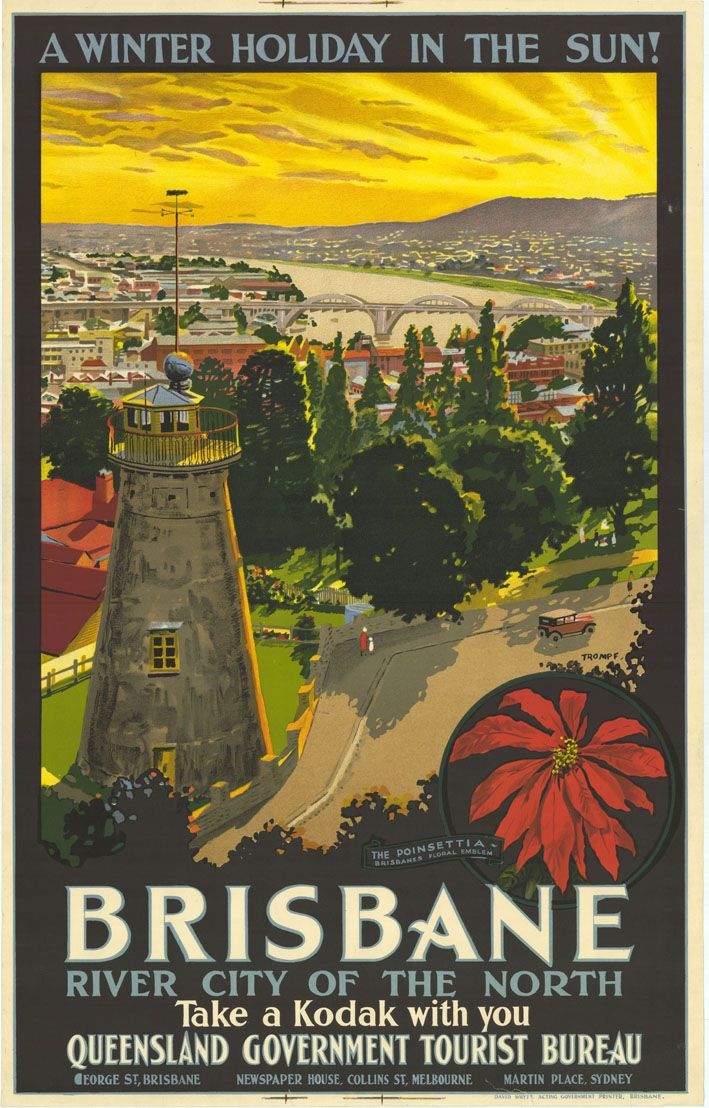 A Winter Holiday in the Sun! Brisbane, River City of the North, Take a Kodak With You. Painted design featuring a landscape of Brisbane city including man made structures and features the Poinsettia, Brisbane's floral Emblem, c 1934. DID 22134.