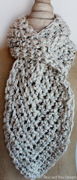 Free Pull Through Adjustable Crochet Scarf Pattern :: Rescued Paw Designs