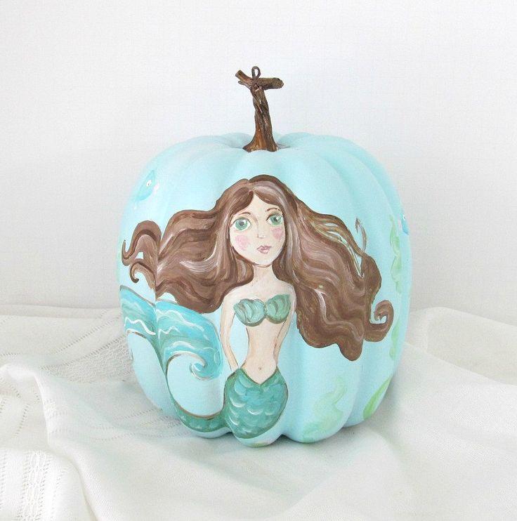 Mermaid Handpainted Pumpkin,Coastal Fall Decor,Beach Cottage Decor,Beach Decor,Mermaid,Beach Pumpkin,Coastal Cottage Fall,Coastal Pumpkin by SandisShellscapes on Etsy