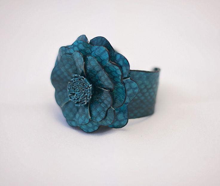 Leather Flower Cuff Bracelet - Teal