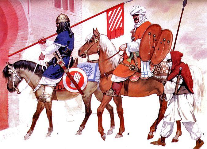 The Golden twilight, 14th century: 1: Granadan officer, early 14th century; 2: Granadan cavalryman, late 14th century; 3: North African volunteer, mid-14th century