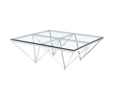 The Luxor Coffee Table is made of tempered glass top with stainless steel frame.                      Size: 105x105x40 cm  (41.3x41.3x15.7 inches)  Contact us for pricing
