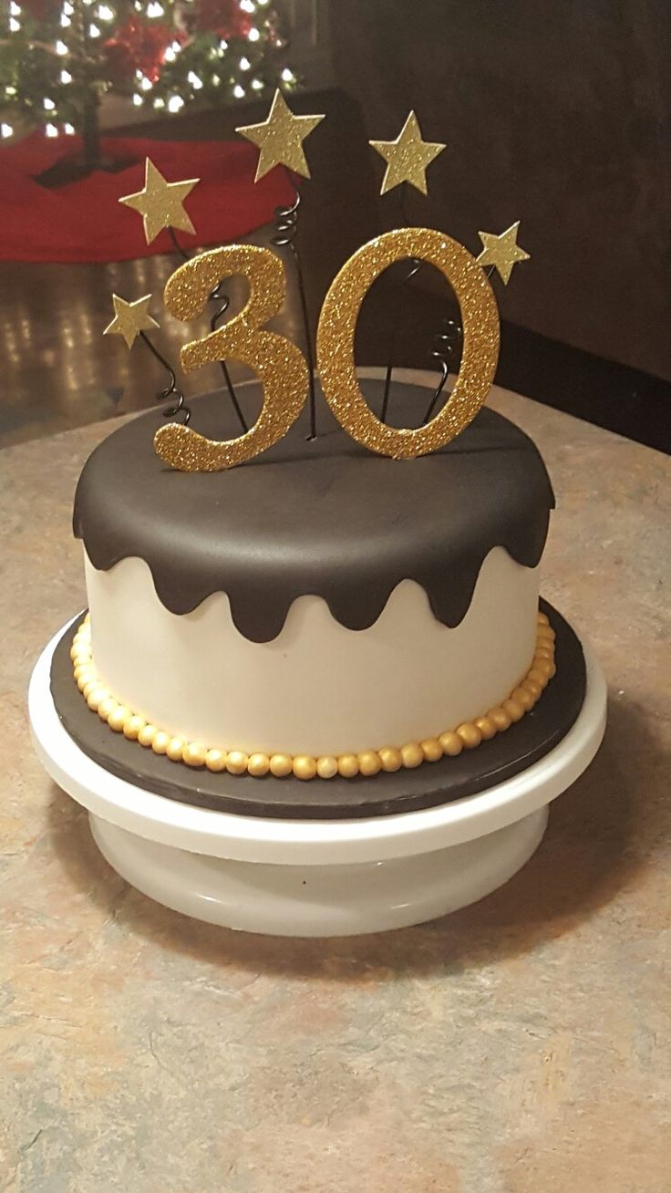 Black and gold 30th Birthday cake Birthday cake for