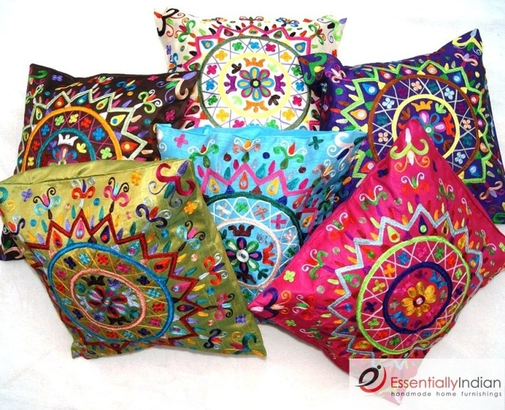 Made From Durable Rayon These Bright Cushions Feature Beautiful Floral Embroidery The Surya Meaning Sun In Hindi Features A Colourful Design