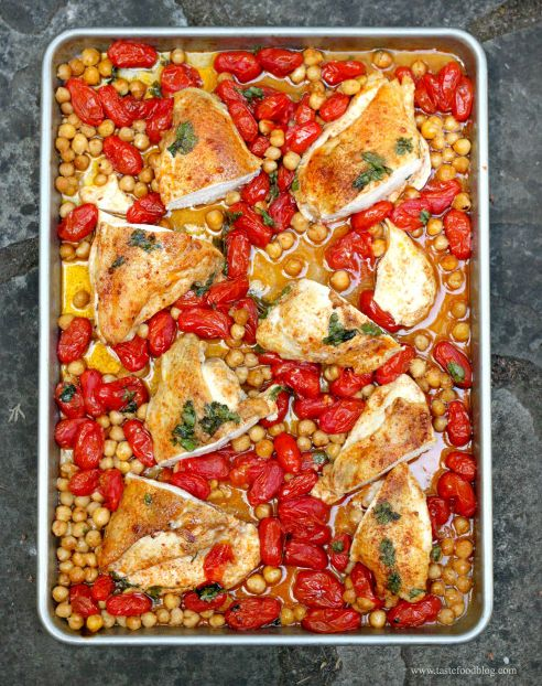 Roasted Chicken Breasts with Tomatoes and Chickpeas | 23 Boneless Chicken Breast Recipes That Are Actually Delicious