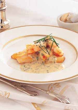 John dory with prawns and creamy dill sauce