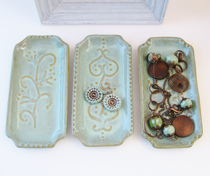 Mediterranean Home Jewelry Tray Spoon Rest Soap by BackBayPottery. $18.00 USD, via Etsy.