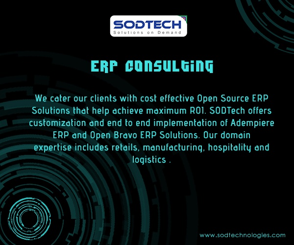 Want to streamline your business, we at sod technologies delivering services at simply, quickly and cost effectively. Our Professional team has technical expertise in Enterprise Resource Planning (ERP) solutions.    1. Improve Efficiency  2. Deliver right Product at Prompt  ERP Solutions