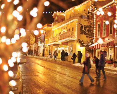 park city! it look like a little snowy gingerbread house village with mittens and puffball hats and slick roads and lights and joy and christmas tunes and spirit