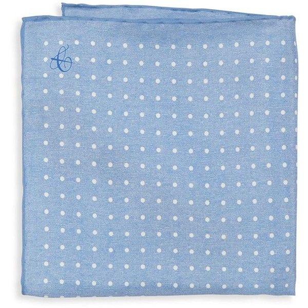 Canali Polka Dot Silk Pocket Square (1 230 ZAR) ❤ liked on Polyvore featuring men's fashion, men's accessories, handkerchiefs, blue, mens handkerchiefs and mens silk handkerchief