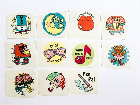 Assorted vintage stickers! I was unable to identify the brand, but this is a pretty cute set of circle stickers. 11 stickers total, each are roughly 1.75 diameter.  ***** Please note items are being shipped via ground shipping with Canada Post. Tracking and insurance is not included in this standard shipping rate. If you would like to receive a tracking number, kindly let us know!