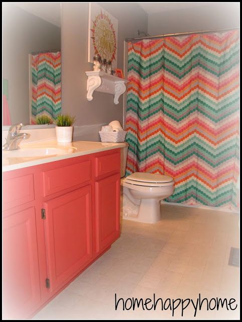 Coral and turquoise bathroom i love the chevron shower for Aqua and coral bathroom