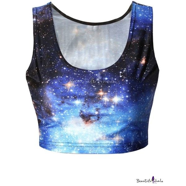 Sleeveless Galaxy Print Scoop Neck Crop Tank (£7.70) ❤ liked on Polyvore featuring tops, blue tank, crop tank, scoop neck top, crop tank top and sleeveless tops