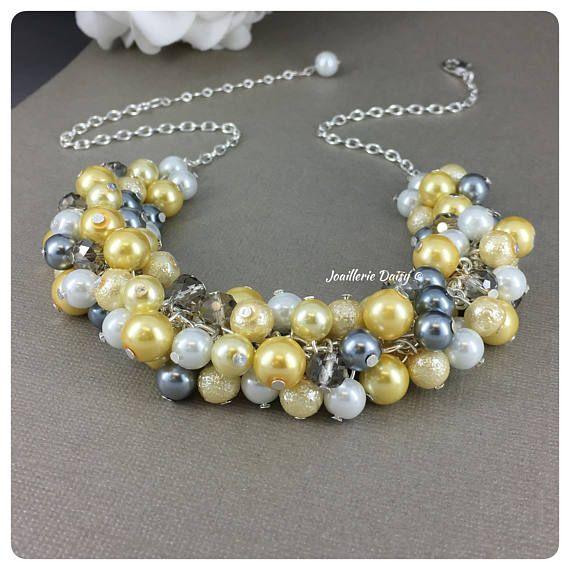 Parel Cluster ketting gele en grijze halsketting