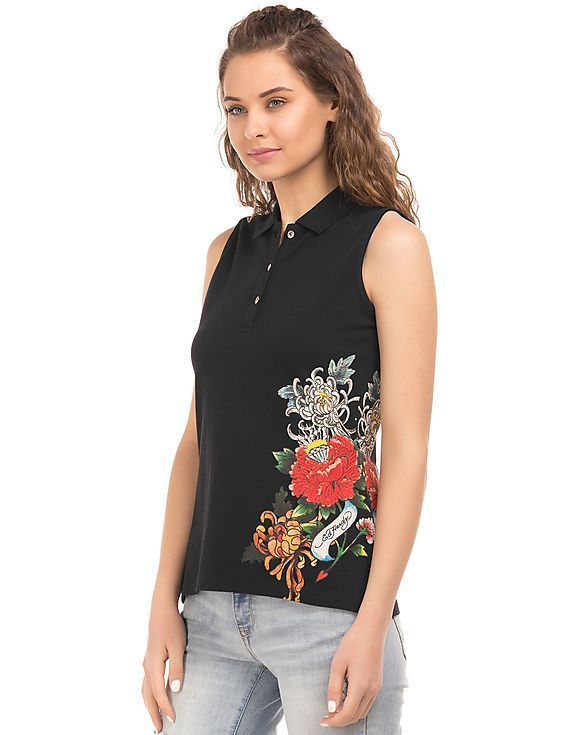 Buy EdHardy Women Printed Side Sleeveless Polo Shirt online at NNNOW.com