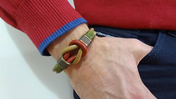 Men's Burgundy and Camel Leather Bracelet, Men's Jewelry, Bronze Magnetic Clasp, Men Leather Cuff, Gift for Him, Father's Day Gifts