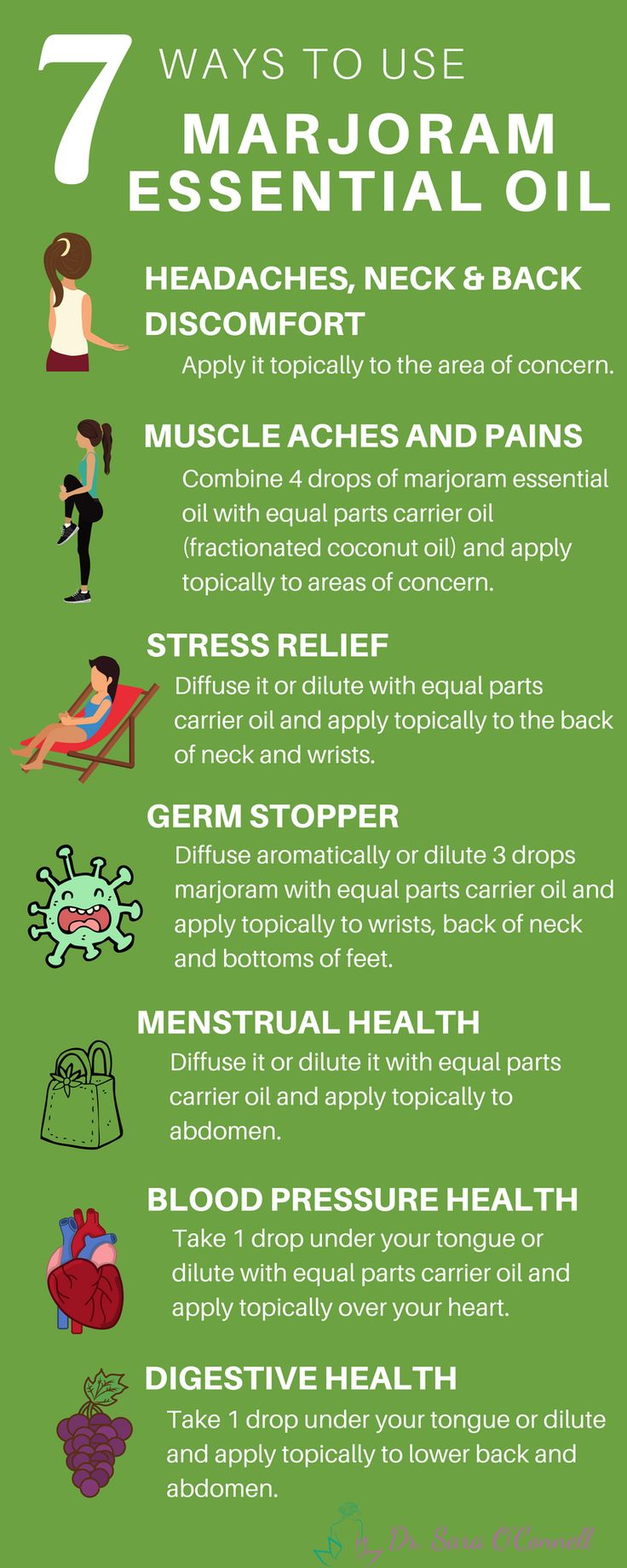 Marjoram essential oil is a great oil for promoting peace, sleep, calmness and decreasing stress, aches pains and much more. Essential oils are plant based medicine with extensive uses and benefits. Repin to share with your loved ones and click the image for much more!