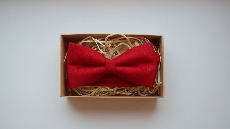 Red linen bow tie / Linen Bow Tie / Deep Red bow tie / Teenager bow tie / Child handmade accessories ~ Self Tie Adjustable bow tie by ArtOfLithuania on Etsy