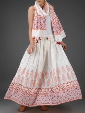 Ivory-Orange Block-Printed Elasticated Tie-up Waist Cotton Skirt